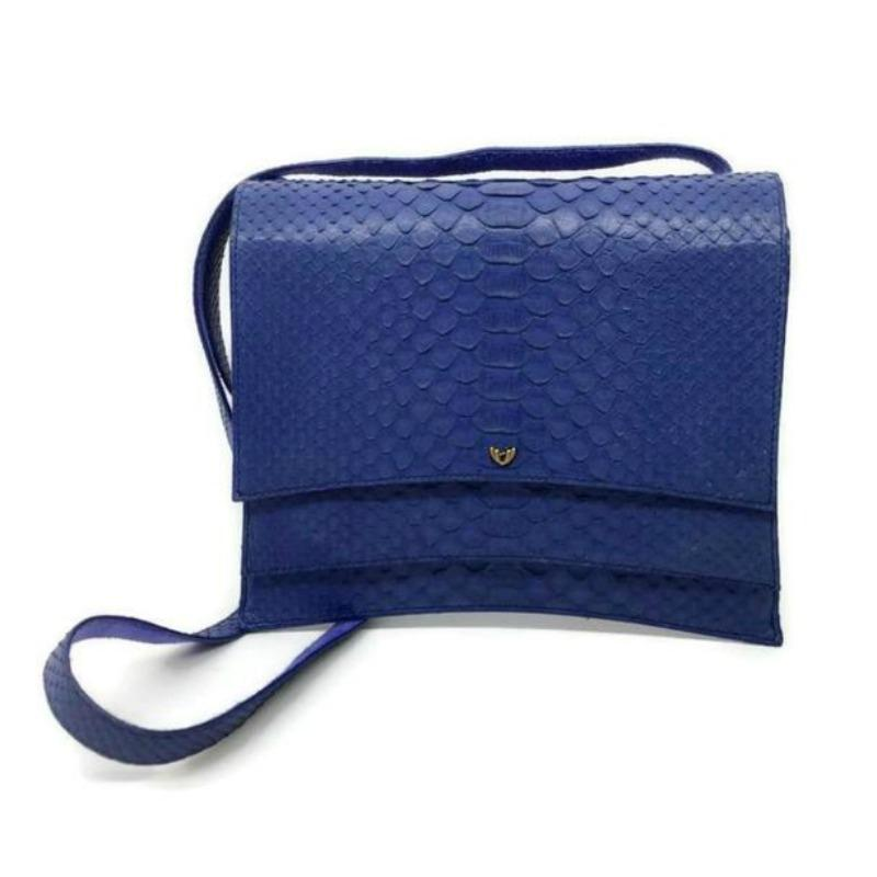 Lautrec Blue Python Skin Leather Cross Body Bag