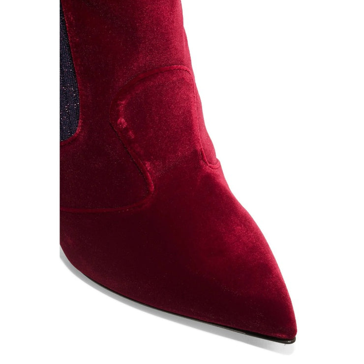 Fendi Oxblood Velvet and Metallic Rockoko Boots