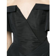 Carolina Herrera Black Off Shoulder Silk Faille Dress