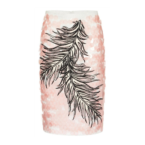 Emilio Pucci Pink Sequin and Embroidered Feather Knee-length Skirt