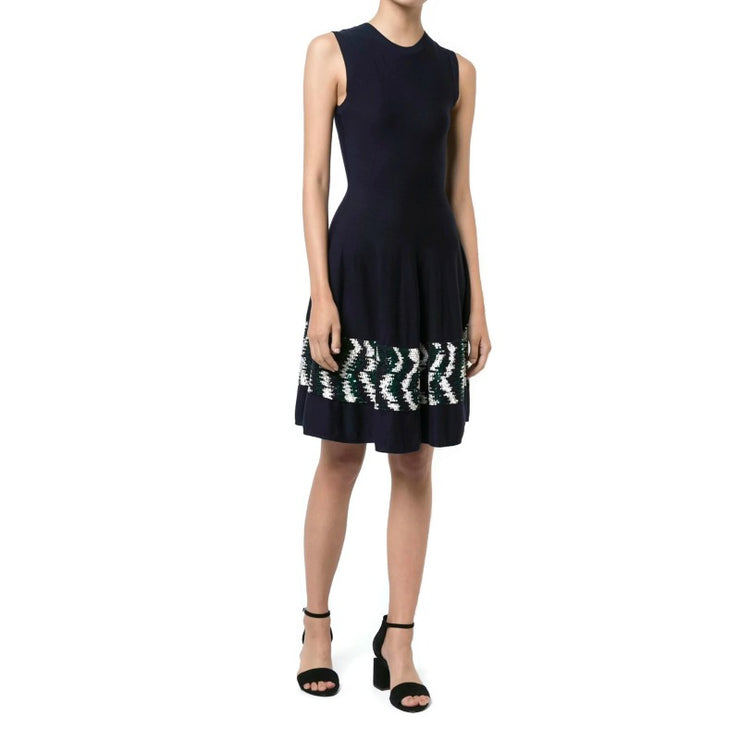 Oscar de la Renta Navy / Multi Sequin Embroidered Skater Dress