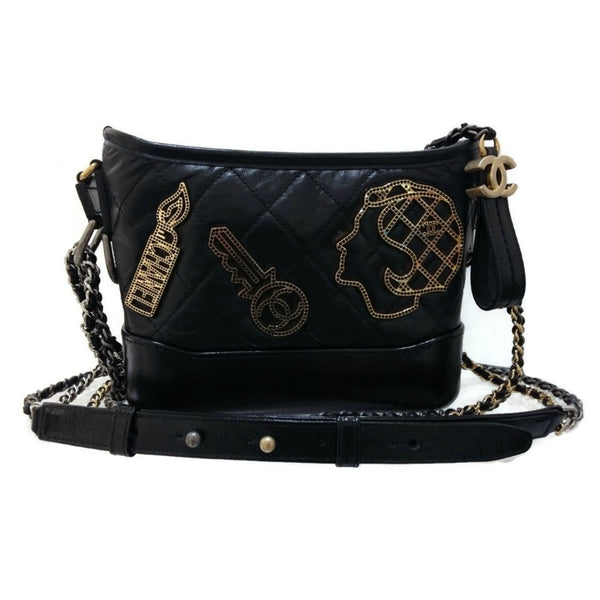 Chanel Gabrielle 2016 with Charms Black Quilted Leather Shoulder Bag