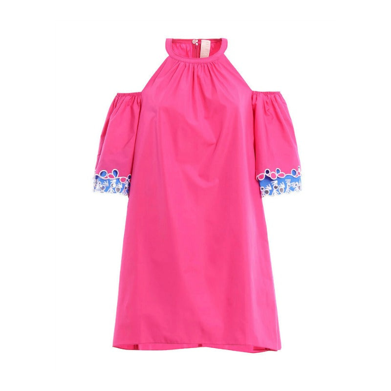Peter Pilotto Pink with Blue Embroidered Off-the-shoulder Tunic Dress