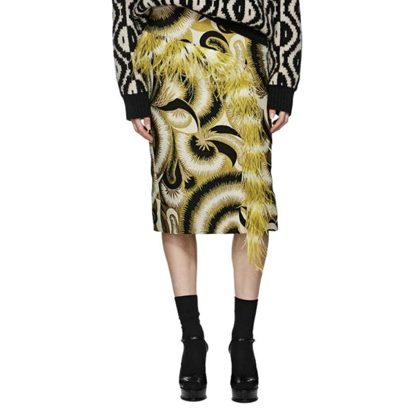 Dries van Noten Yellow / Black Jacquard Feather Trimmed Skirt