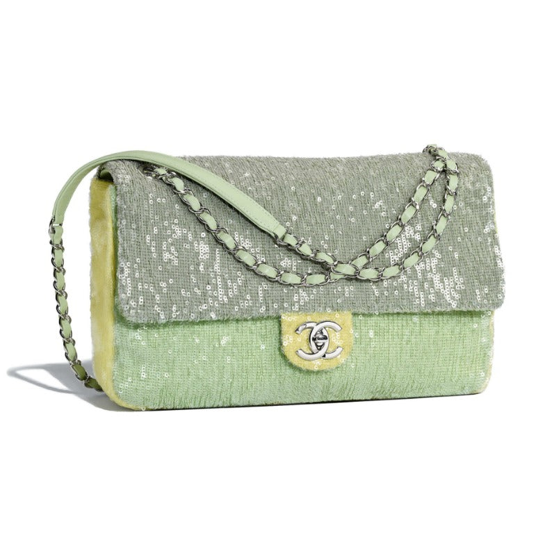 Chanel Classic Flap Green / Yellow Sequin Shoulder Bag