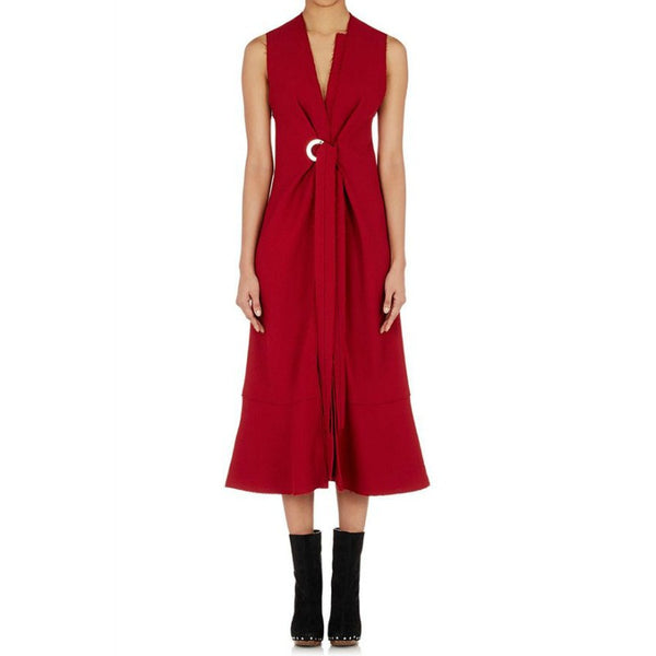 Proenza Schouler Dark Red Grommet Tie Front Dress