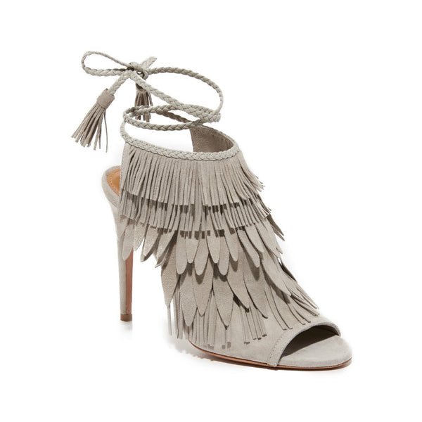 Aquazzura Light Grey So Pocahontas Sandals