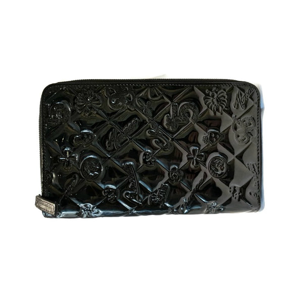 Chanel Black Embossed Patent Leather Lucky Symbols Zip Around Wallet