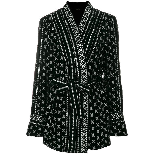 DODO BAR OR Black Sendy Embroidered Velvet Kimono