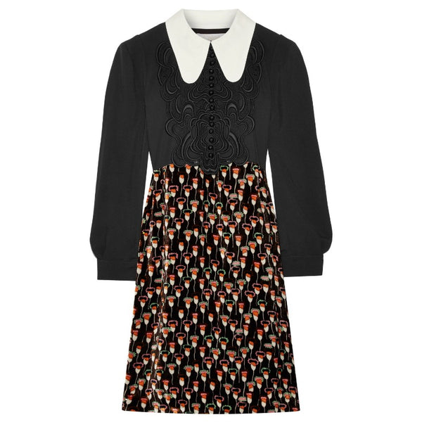 Chloé Black/Multi Embroidered Cady Dress