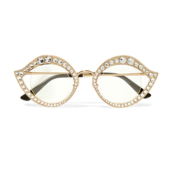 Gucci Gold Cat Eye Metal Glasses with Crystals