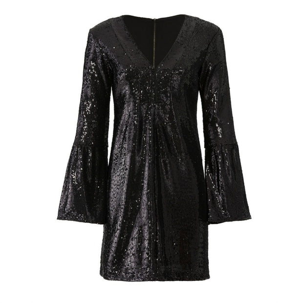 Nanette Lepore Black Sequin Sestina Dress
