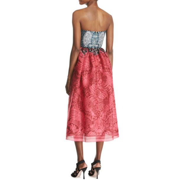 MARY KATRANTZOU Dragon Fuxia Shelem Strapless Cut Out Dress