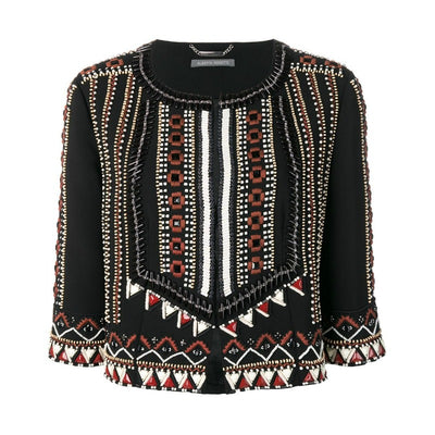 Alberta Ferretti Black / Brown Beaded Embroidered Jacket