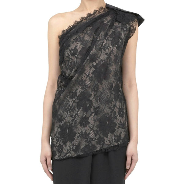 Lanvin Lace One Shoulder Black Top