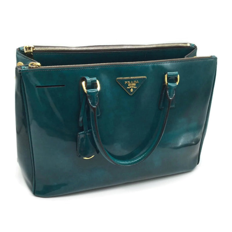 Prada Teal Patent Leather Tote