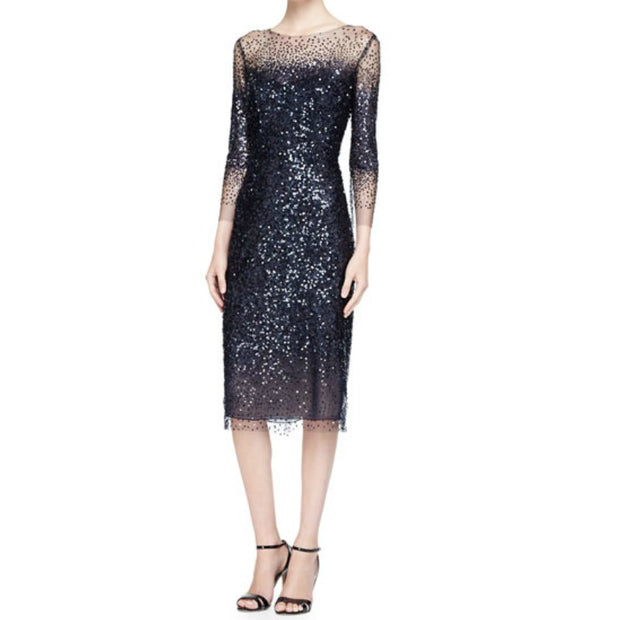 Monique Lhuillier Navy Blue Illusion Dress