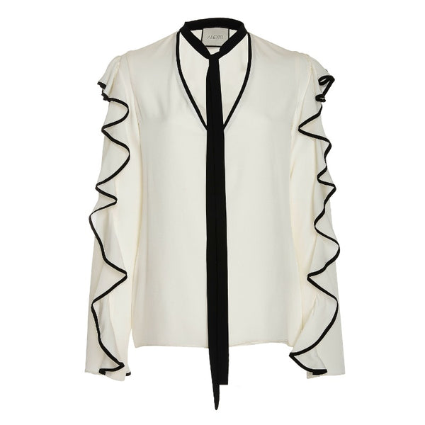 Alexis Off White Darcy Contrast Ruffle Trim Blouse