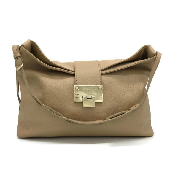 Jimmy Choo Small Rachel Beige Leather Shoulder Bag
