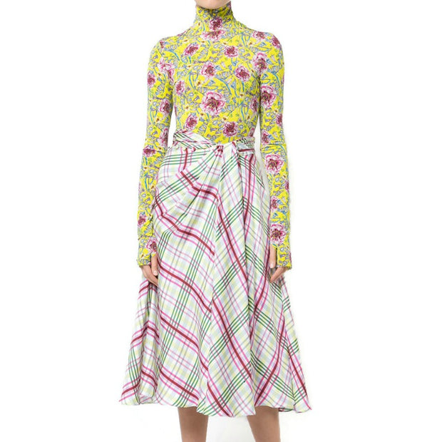 Prabal Gurung Multicolor Plaid Silk Twill Midi Skirt