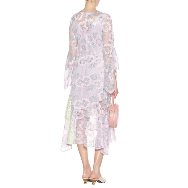Peter Pilotto Light Pink Metallic Lace Midi Dress