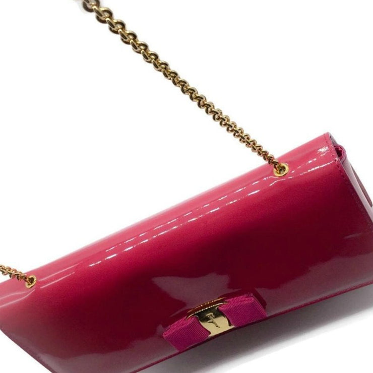 Salvatore Ferragamo Cross Body Pink Patent Leather Shoulder Bag
