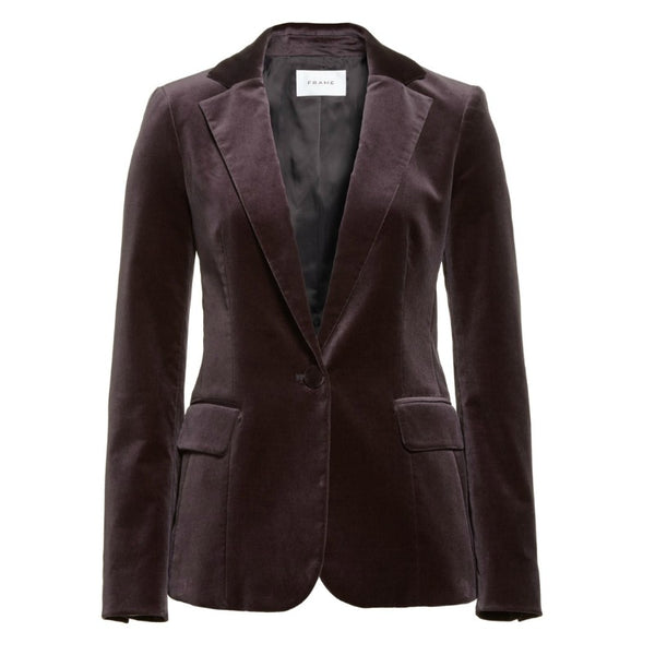 FRAME Charcoal Velvet Stretch Blazer