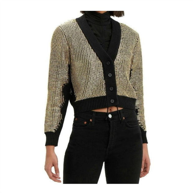 RtA Black/Gold Metallic Hunter Cardigan