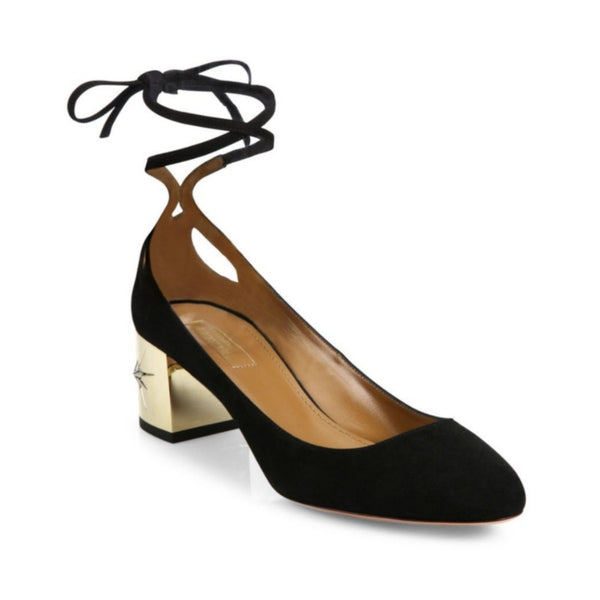 Aquazzura Black / Gold Trinity Suede Pumps