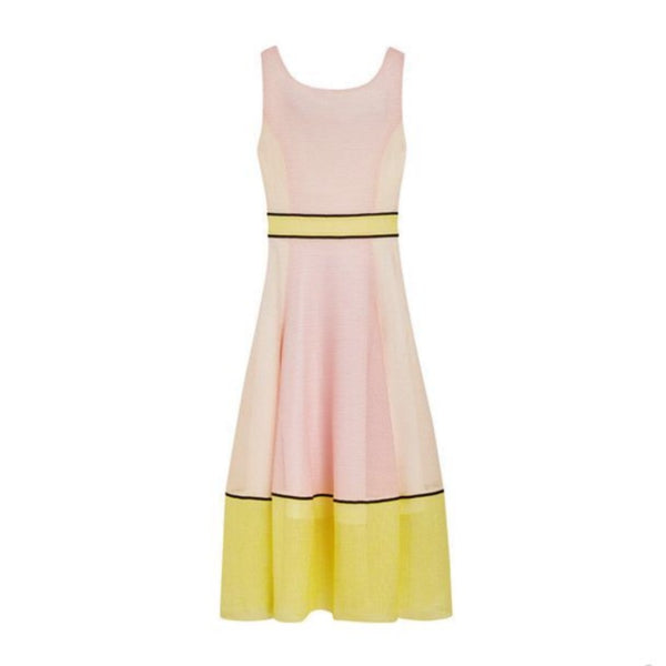 Maje Pink / Yellow Robe Longue Dress