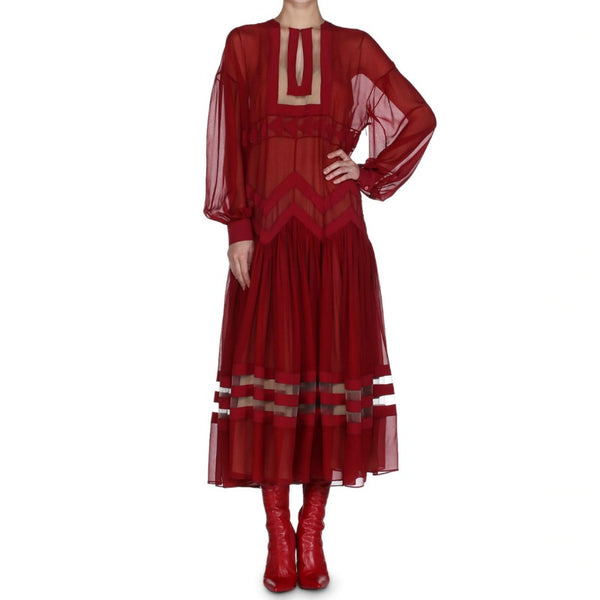 Fendi Crimson Red Chiffon W/Slip Casual Maxi Dress
