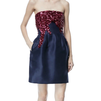 Oscar de la Renta Navy Blue / Pink Strapless Silk Sequin Faille Cocktail Dress