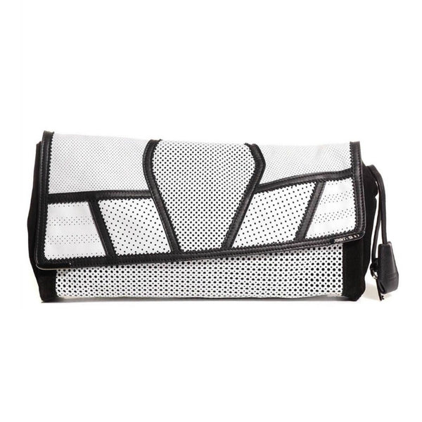 Jimmy Choo Alley Mixed Media Black / White Leather / Suede Clutch