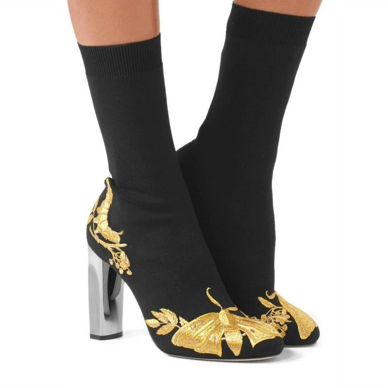 Alexander McQueen Black / Gold Stretch Embroidered Butterfly Boots