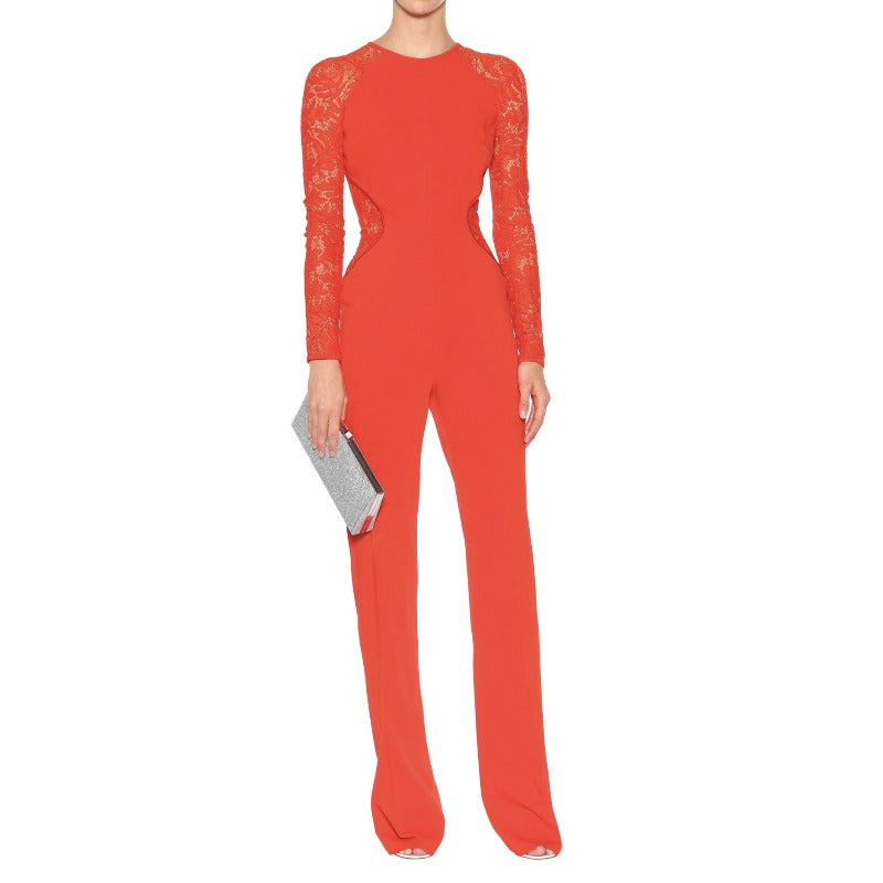 David Koma Red Cady and Lace Jumpsuit