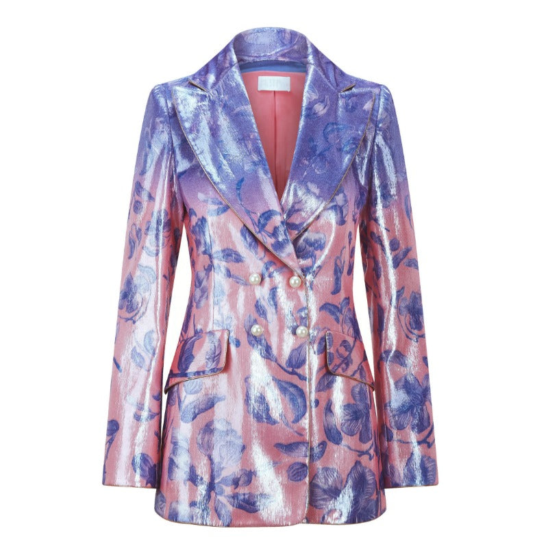 Peter Pilotto Gradient Flower Blue Printed Velvet Blazer