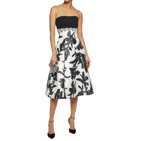 Mikael Aghal Black / White Strapless Floral Dress