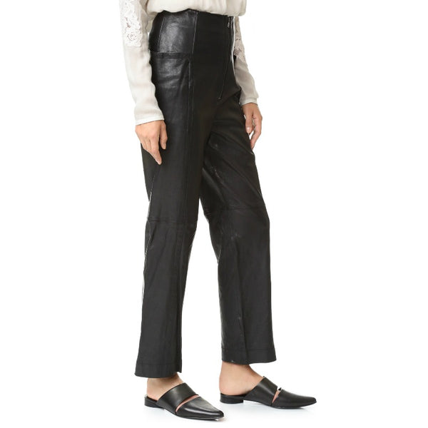 Tibi Black Leather High Waisted Pants