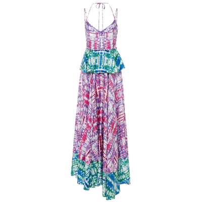Prabal Gurung Tie Dye Print Buttoned Waist Maxi Dress