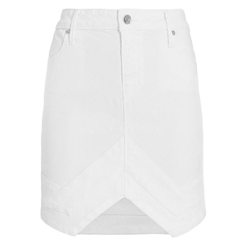 RtA V Optic White Denim Skirt