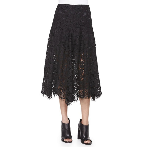 Veronica Beard Black Lace Warren A-line Midi Skirt