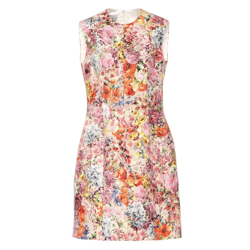Valentino Multicolor Floral Print Shift Work/Office Dress