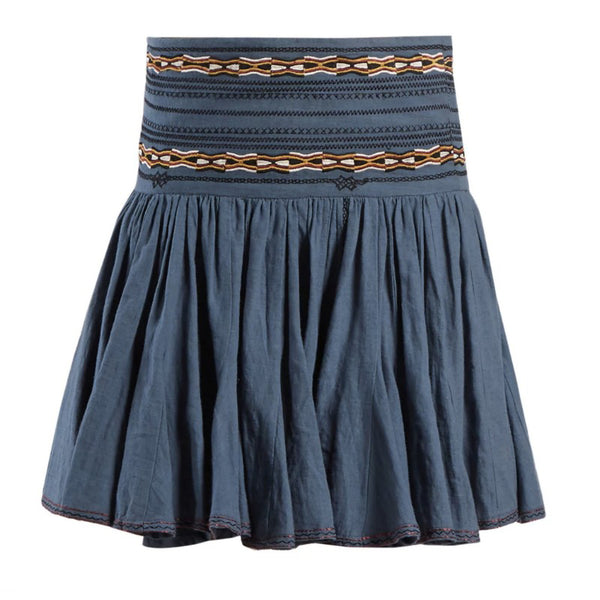 Étoile Isabel Marant Slate Blue Breeda Embroidered Skirt