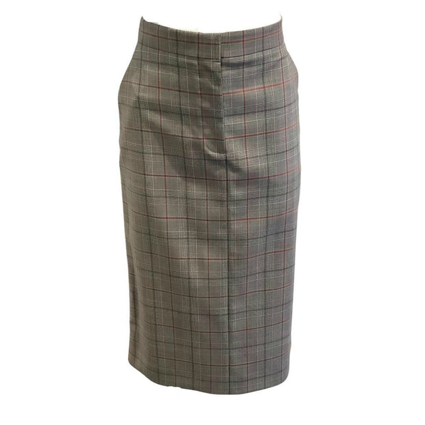 Calvin Klein 205W39NYC Gray Plaid Orange Trim Skirt