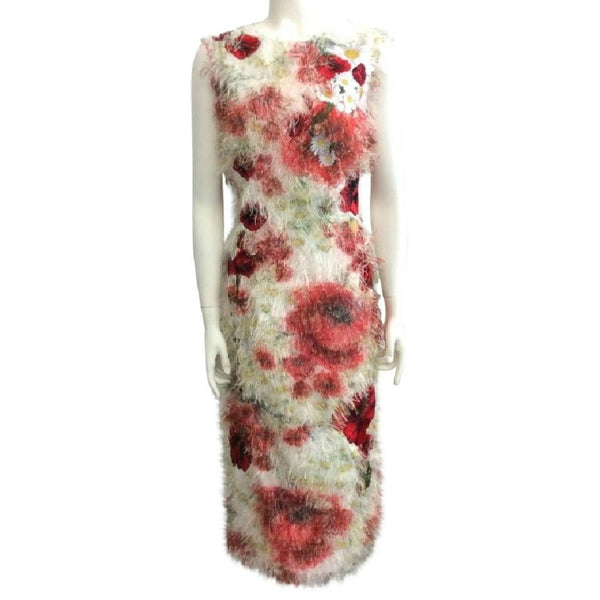 Dolce&Gabbana Red / White Poppy Applique Dress