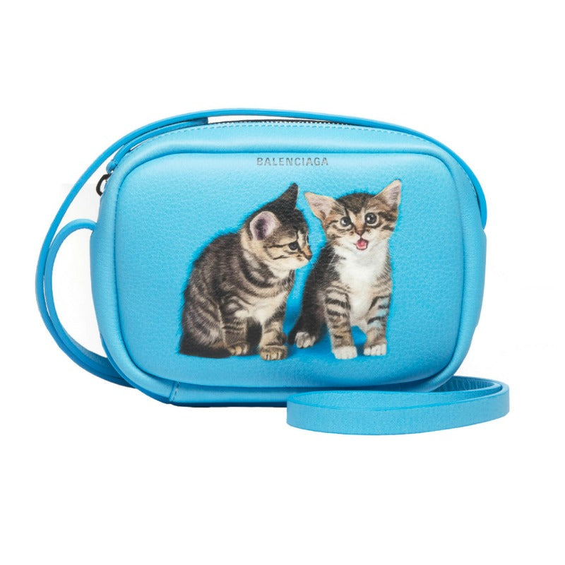 Balenciaga Kitten Everyday Camera Turquoise Leather Shoulder Bag