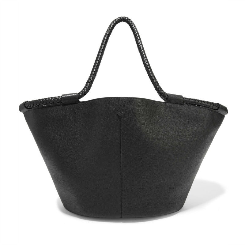 The Row Black Pebbled Leather Market Tote