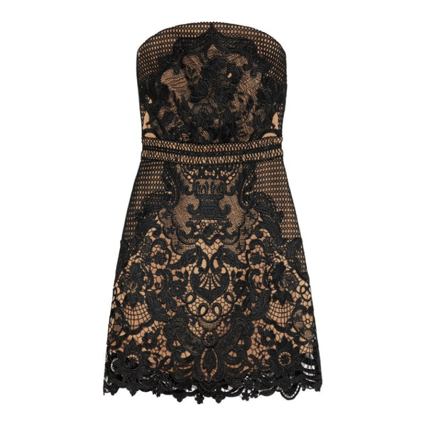 self-portrait Black Lace Phanton Mini Dress
