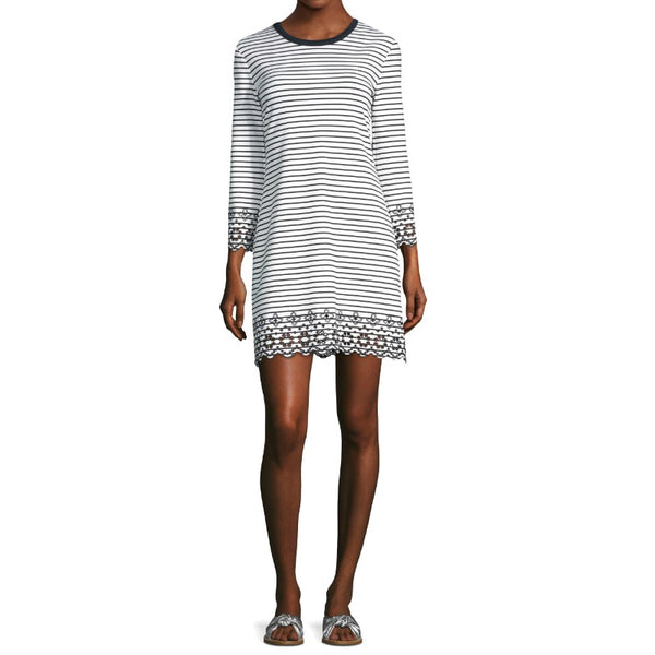 10 Crosby Derek Lam White/Black Striped Eyelet Dress