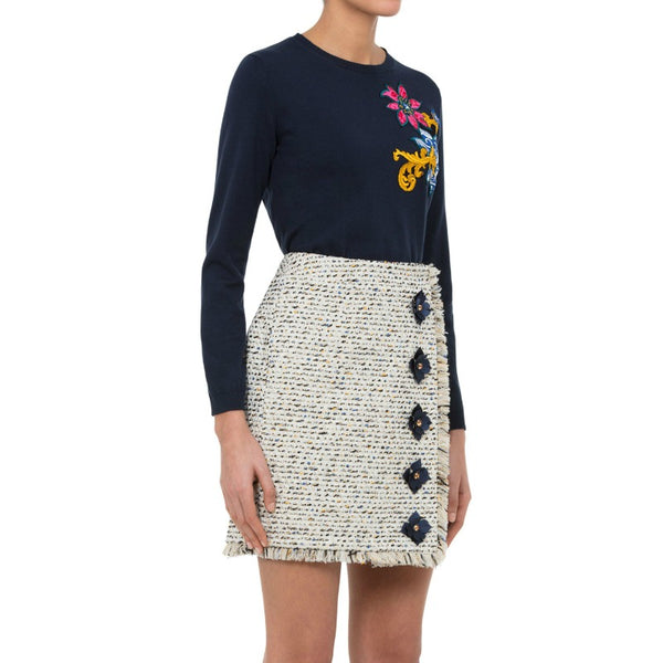 MARY KATRANTZOU Ivory Multi Truco Gold Skirt